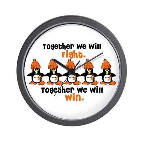 Winter Penguin 5 (Orange) Wall Clock