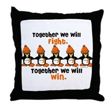 Winter Penguin 5 (Orange) Throw Pillow