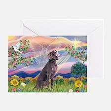 Cloud Angel & Weimaraner Greeting Cards (Pk of 10