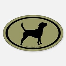 Beagle Dog Oval (black on sage) Oval Decal