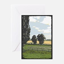 Trees and Field Blank Greeting Card