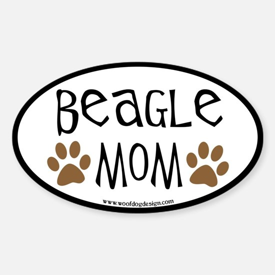 Beagle Mom Oval (black border) Oval Decal