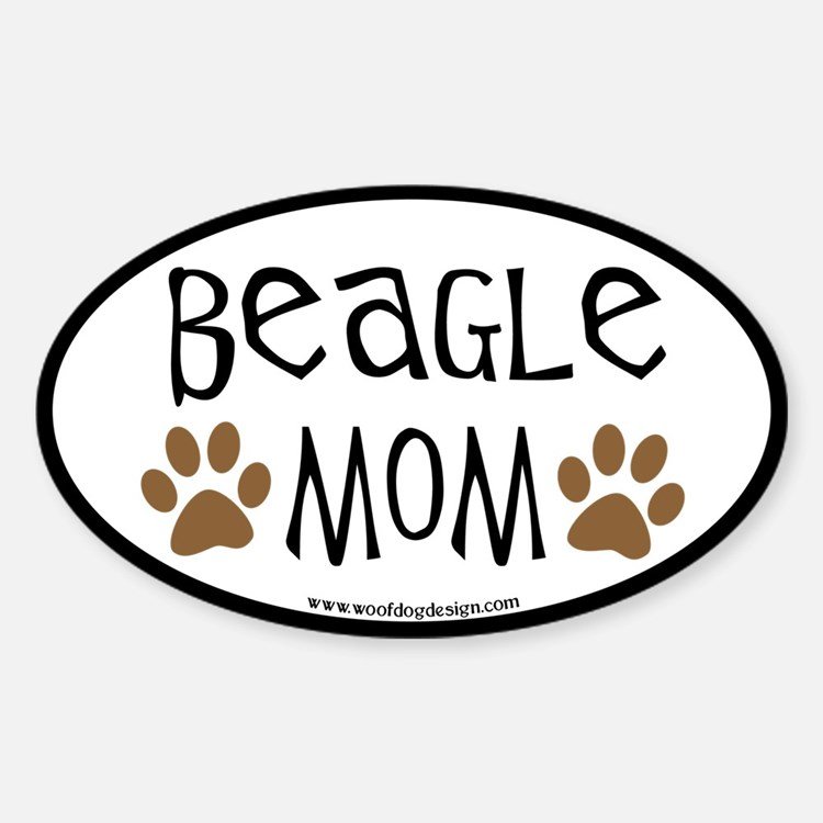 Beagle Mom Oval (black border) Oval Decal