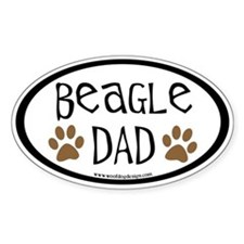 Beagle Dad Oval (inner border) Oval Decal