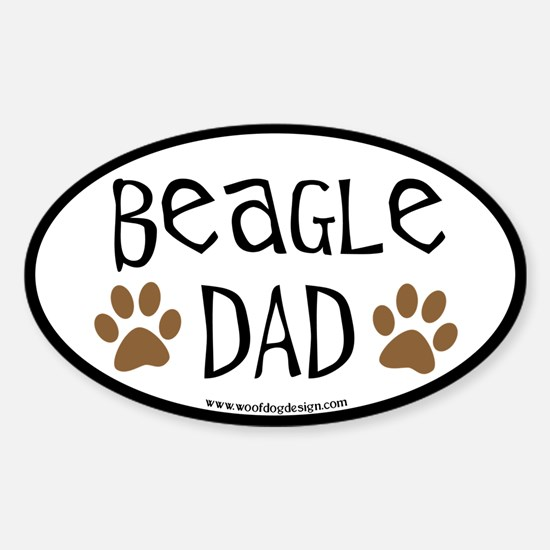 Beagle Dad Oval (black border) Oval Decal