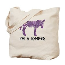 """I'm A Keeper"" Purple Zebra Tote Bag"