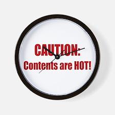 Caution: Contents HOT! Wall Clock