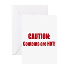 Caution: Contents HOT! Greeting Card