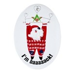 Masonic Santa Porcelain Oval Ornament