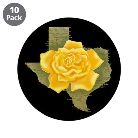 """Yellow Rose of Texas 3.5"""" Button (10 pack)"""