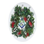 Masonic Porcelain Wreath Oval Ornament
