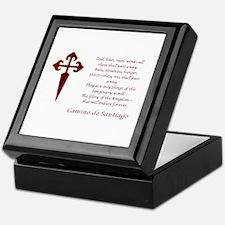 Camino Poem Red with Cross Keepsake Box