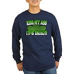 Kiss My Ass It's Irish Long Sleeve Dark T-Shirt