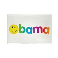 Obama Smiley Face Rainbow Rectangle Magnet