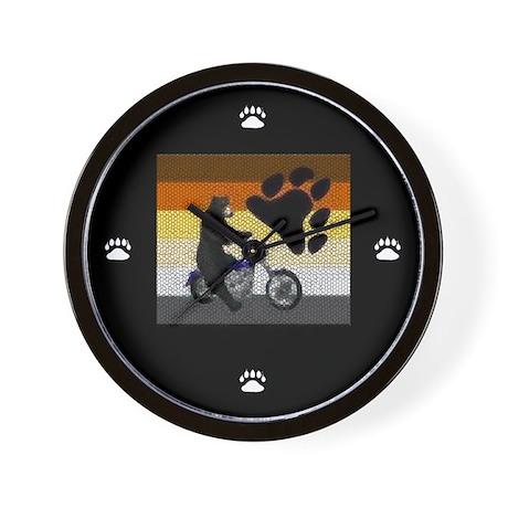 MOTORCYCLE BEAR/BEAR PRIDE FLAG Wall Clock