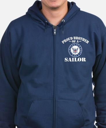 Proud Brother Of A US Navy Sailo Zip Hoodie (dark)