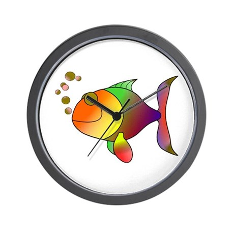 Tropical fish wall clock by allanimaltees for Fish wall clock
