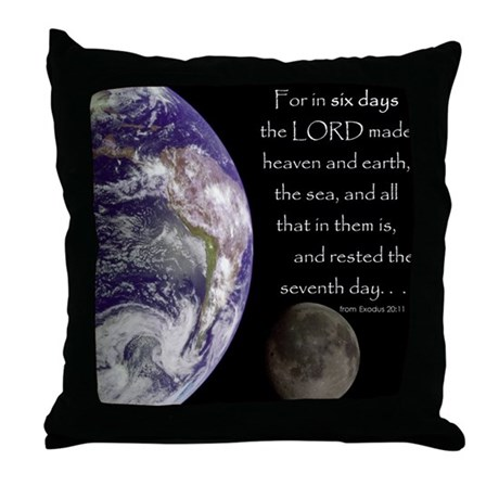 In Six Days Throw Pillow