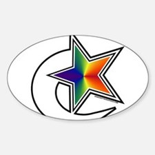 Rainbow Shooting Star Oval Decal