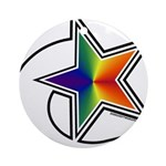 Rainbow Shooting Star Ornament (Round)