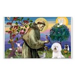St Francis / Bichon Frise Rectangle Sticker