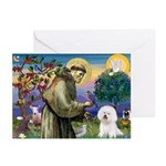 St Francis / Bichon Frise Greeting Cards (Pk of 10
