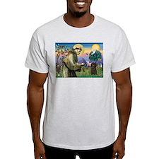 St. Francis & Affenpinscher Ash Grey T-Shirt