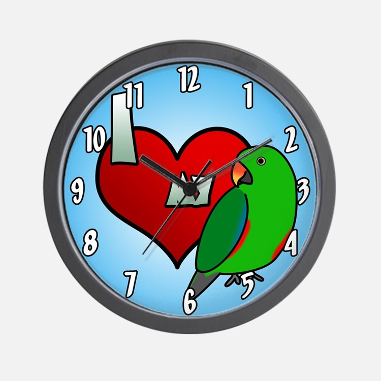 I Love My Red-Sided Eclectus Clock (Male)