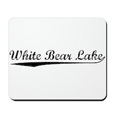 Vintage White Bear.. (Black) Mousepad