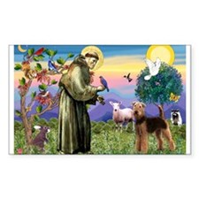 Saint Francis & Airedale Rectangle Decal