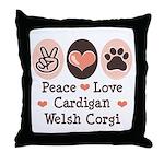 Peace Love Cardigan Welsh Corgi Throw Pillow