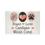 Peace Love Cardigan Welsh Corgi Rectangle Magnet
