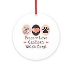 Peace Love Cardigan Welsh Corgi Ornament (Round)