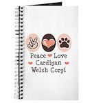 Peace Love Cardigan Welsh Corgi Journal