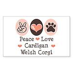 Peace Love Cardigan Welsh Corgi Sticker (Rectangul