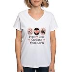 Peace Love Cardigan Welsh Corgi Women's V-Neck T-S