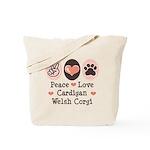 Peace Love Cardigan Welsh Corgi Tote Bag