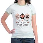 Peace Love Cardigan Welsh Corgi Jr. Ringer T-Shirt