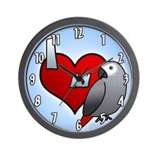 I Love my Congo African Grey Clock (Cartoon)