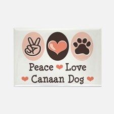 Peace Love Canaan Dog Rectangle Magnet