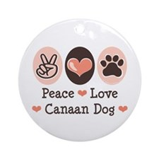 Peace Love Canaan Dog Ornament (Round)