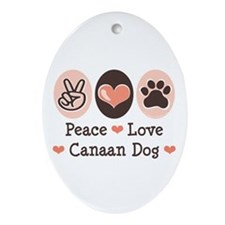 Peace Love Canaan Dog Oval Ornament