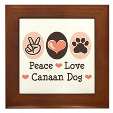 Peace Love Canaan Dog Framed Tile