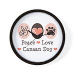 Peace Love Canaan Dog Wall Clock