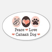 Peace Love Canaan Dog Oval Decal