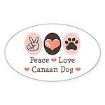 Peace Love Canaan Dog Oval Sticker