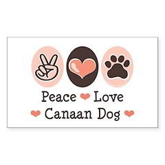 Peace Love Canaan Dog Rectangle Decal