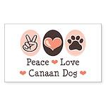 Peace Love Canaan Dog Rectangle Sticker