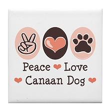 Peace Love Canaan Dog Tile Coaster