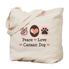 Peace Love Canaan Dog Tote Bag